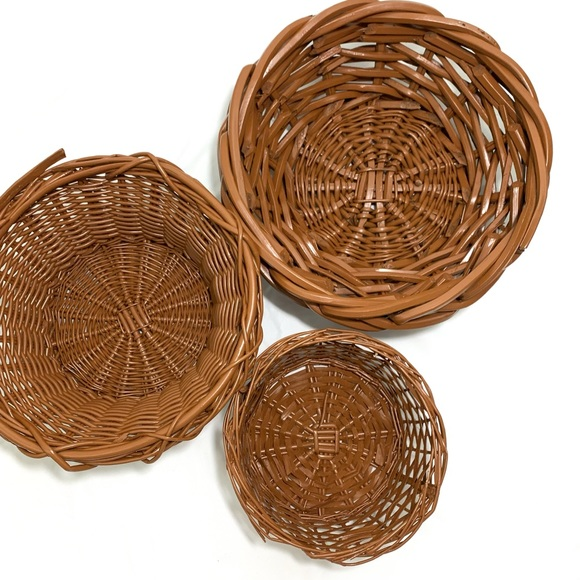 Vintage Handwoven Wicker Basket Wall (Set of 3)